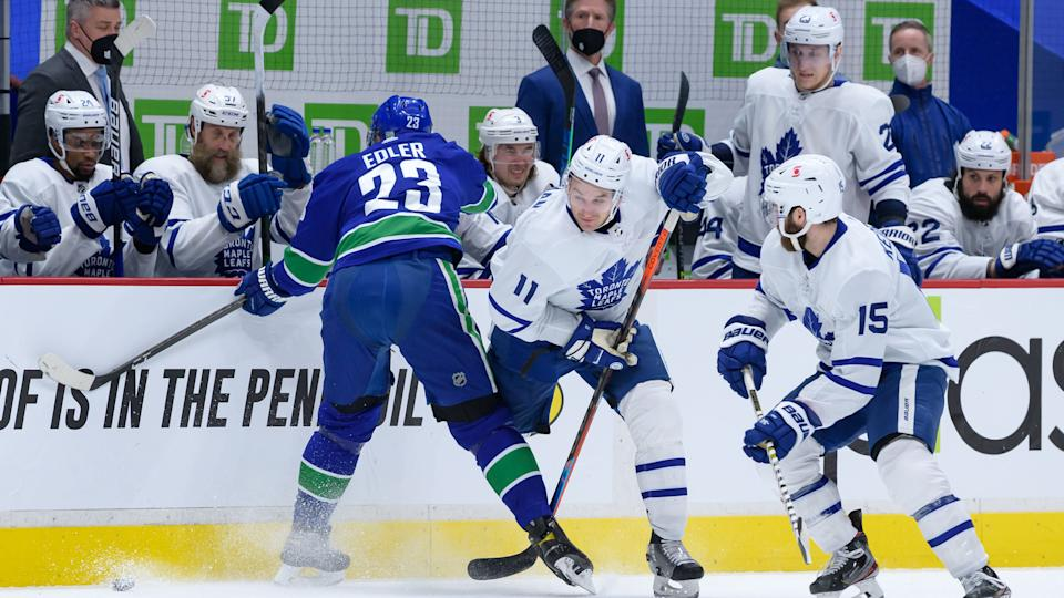 Vancouver Canucks defenseman Alex Edler has been suspended two games for a knee-on-knee hit on Toronto Maple Leafs forward Zach Hyman. (Derek Cain/Icon Sportswire via Getty Images)