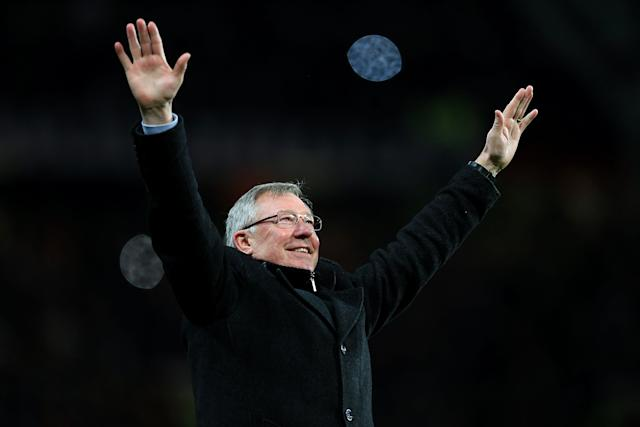 Sir Alex Ferguson celebrates in April 2013 after a Robin Van Persie hat-trick earned a 3-0 win over Aston Villa to secure his 13th and final title as Manchester United manager. Ferguson, then aged 71, retired at the end of the 2012-13 season having won 38 trophies during his 26 years at the club (Mike Egerton/EMPICS)