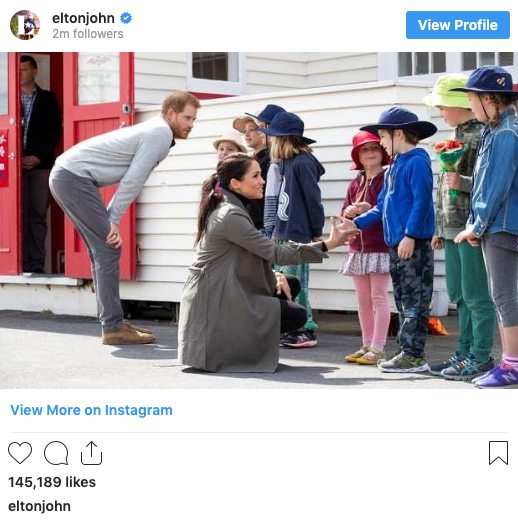 A photo of Prince Harry and Meghan Markle meeting school children in New Zealand in October 2018 shared by singer Elton John on hi Instagram page.