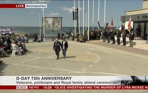 Veterans lay wreaths at a sunny Arromanches - Credit: BBC