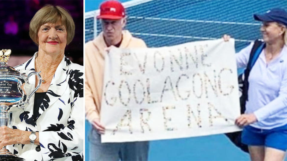 Margaret Court (pictured left) smiling holding a trophy and John McEnroe and Martina Navratilova (pictured right) holding up a banner in protest at the Australian Open.