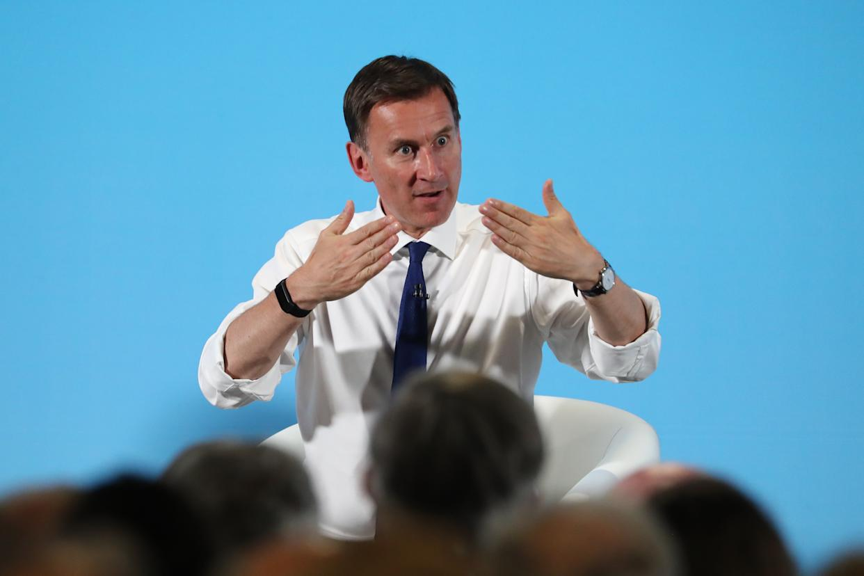 Conservative Party leadership candidate Jeremy Hunt speaks during a Tory leadership hustings in Maidstone, Kent.