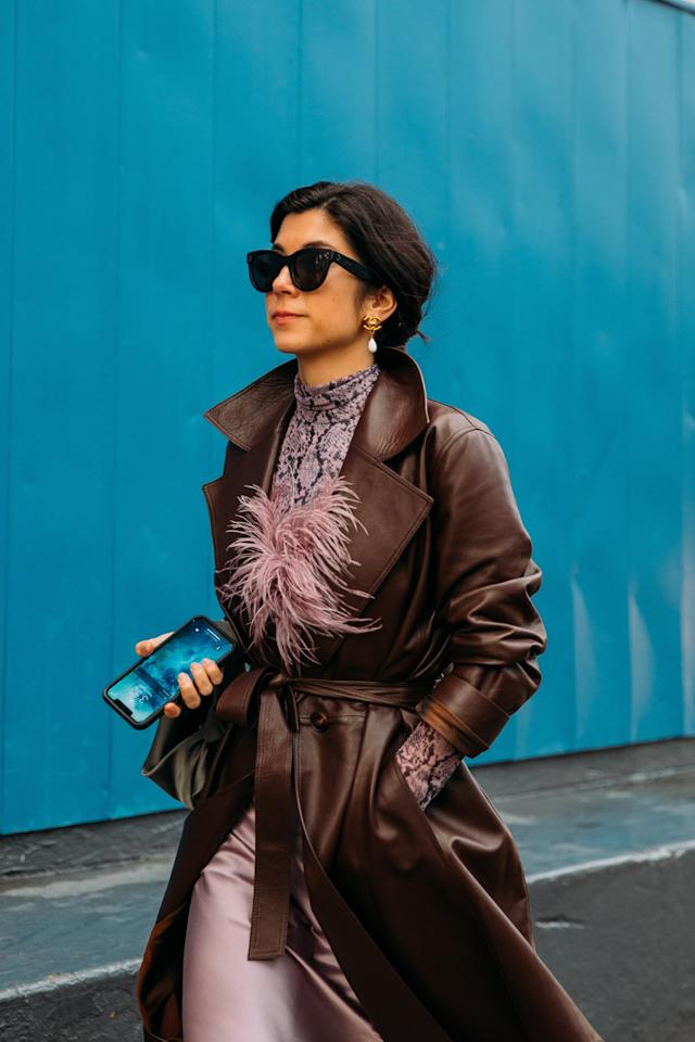 <p>Let it peek out from underneath a more muted leather trench, so as to downplay it a bit for now. But once you're out and about in the evening, take off that jacket and show off the silk slip skirt it was made to be paired with.</p>