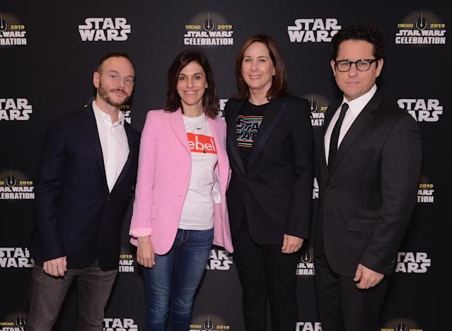 """Writer Chris Terrio, producers Michelle Rejwan, Kathleen Kennedy and Director J.J. Abrams attend """"The Rise of Skywalker"""" panel at the Star Wars Celebration. (Daniel Boczarski/Getty Images for Disney )"""