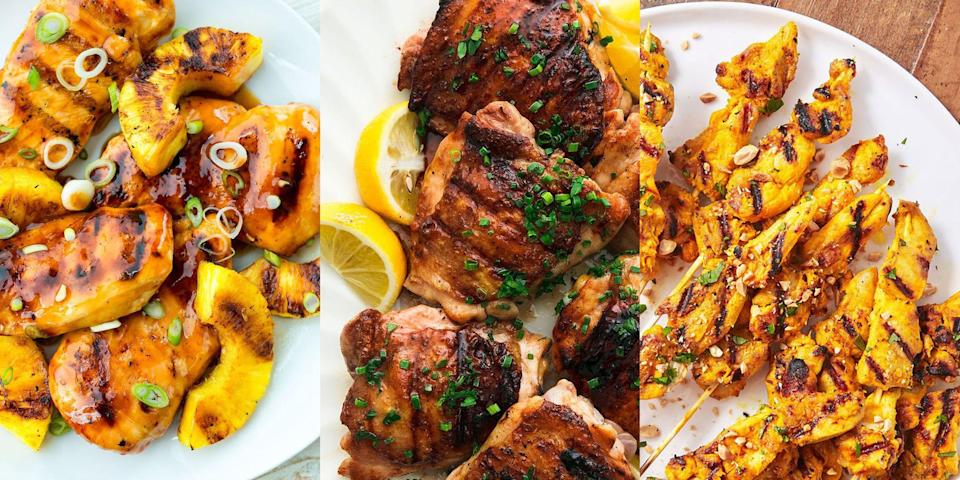 """<p>Nothing quite pairs as perfectly as hot weather and grilled chicken. It's the ultimate heatwave dinner. Whip up a marinade, chunk up your chicken (<a href=""""https://www.delish.com/uk/cooking/recipes/g29843799/healthy-chicken-breast-recipes/"""" rel=""""nofollow noopener"""" target=""""_blank"""" data-ylk=""""slk:chicken breast"""" class=""""link rapid-noclick-resp"""">chicken breast</a> or <a href=""""https://www.delish.com/uk/cooking/recipes/g30242756/chicken-thigh-recipes/"""" rel=""""nofollow noopener"""" target=""""_blank"""" data-ylk=""""slk:chicken thigh"""" class=""""link rapid-noclick-resp"""">chicken thigh</a>) and set that grill to high! It couldn't be easier. And with everything from <a href=""""https://www.delish.com/uk/cooking/recipes/a28826377/grilled-aloha-chicken-recipe/"""" rel=""""nofollow noopener"""" target=""""_blank"""" data-ylk=""""slk:Aloha Pineapple Chicken"""" class=""""link rapid-noclick-resp"""">Aloha Pineapple Chicken</a> to <a href=""""https://www.delish.com/uk/cooking/recipes/a32399310/bbq-grilled-chicken-recipe/"""" rel=""""nofollow noopener"""" target=""""_blank"""" data-ylk=""""slk:BBQ Grilled Chicken"""" class=""""link rapid-noclick-resp"""">BBQ Grilled Chicken</a> to <a href=""""https://www.delish.com/uk/cooking/recipes/a33790234/chicken-shish/"""" rel=""""nofollow noopener"""" target=""""_blank"""" data-ylk=""""slk:Chicken Shish Kebabs"""" class=""""link rapid-noclick-resp"""">Chicken Shish Kebabs</a> to choose from, you're bound to find something you like. So, for a range of super-simple grilled chicken recipes, keep reading...</p>"""