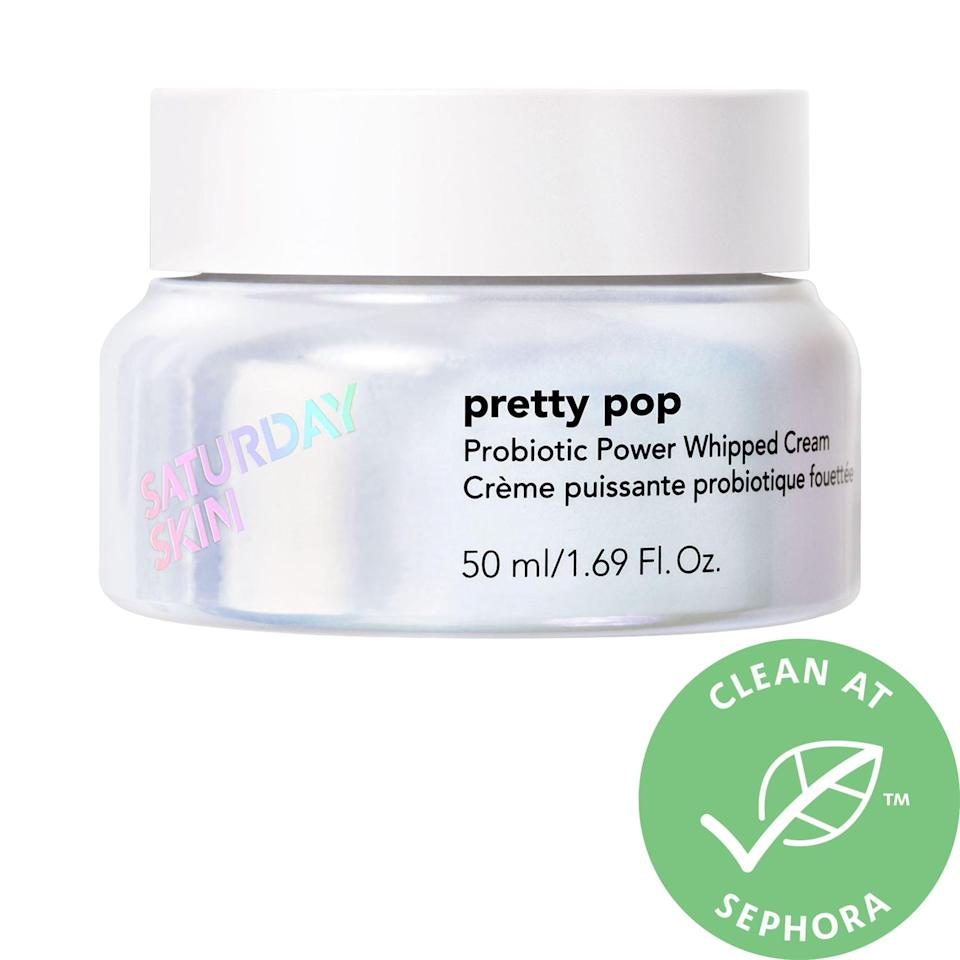 """<p>The niacinamide and probiotics in this <a href=""""https://www.popsugar.com/buy/Saturday-Skin-Pretty-Pop-Probiotic-Power-Whipped-Saturday-SkinCream-576162?p_name=Saturday%20Skin%20Pretty%20Pop%20Probiotic%20Power%20Whipped%20Saturday%20SkinCream&retailer=sephora.com&pid=576162&price=46&evar1=bella%3Aus&evar9=47494507&evar98=https%3A%2F%2Fwww.popsugar.com%2Fbeauty%2Fphoto-gallery%2F47494507%2Fimage%2F47494538%2FSaturday-Skin-Pretty-Pop-Probiotic-Power-Whipped-Saturday-SkinCream&list1=sephora%2Cbeauty%20shopping%2Cbeauty%20sale&prop13=mobile&pdata=1"""" class=""""link rapid-noclick-resp"""" rel=""""nofollow noopener"""" target=""""_blank"""" data-ylk=""""slk:Saturday Skin Pretty Pop Probiotic Power Whipped Saturday SkinCream"""">Saturday Skin Pretty Pop Probiotic Power Whipped Saturday SkinCream</a> ($46, originally $57) make skin smoother and softer, no matter what day of the week it is.</p>"""