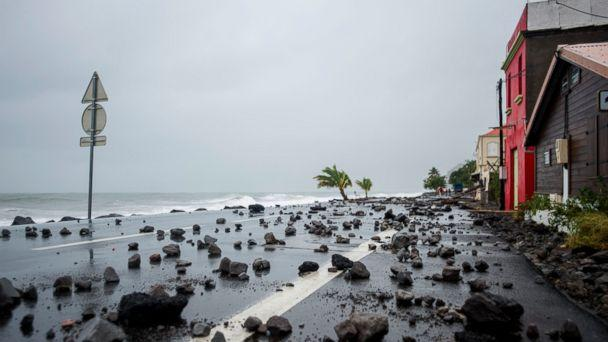 PHOTO:Rocks swept by strong waves onto a road in Le Carbet, on the French Caribbean island of Martinique, after it was hit by Hurricane Maria, on September 19, 2017. (Lionel Chamoiseau/AFP/Getty Images)