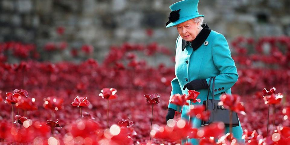 <p>The queen visited the Blood Swept Lands and Seas of Red art installation, which features over 888,000 red poppies at the Tower of London. </p>