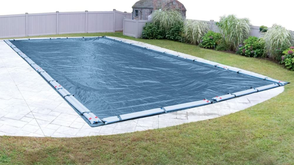 Robelle's in-ground pool cover provides extra large coverage to keep the cold out and preserve your pool.