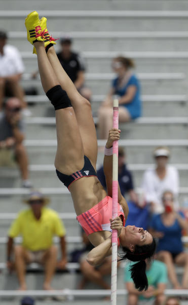 Jennifer Suhr competes in the senior women's pole vault at the U.S. Championships athletics meet on Sunday, June 23, 2013, in Des Moines, Iowa. (AP Photo/Charlie Neibergall)