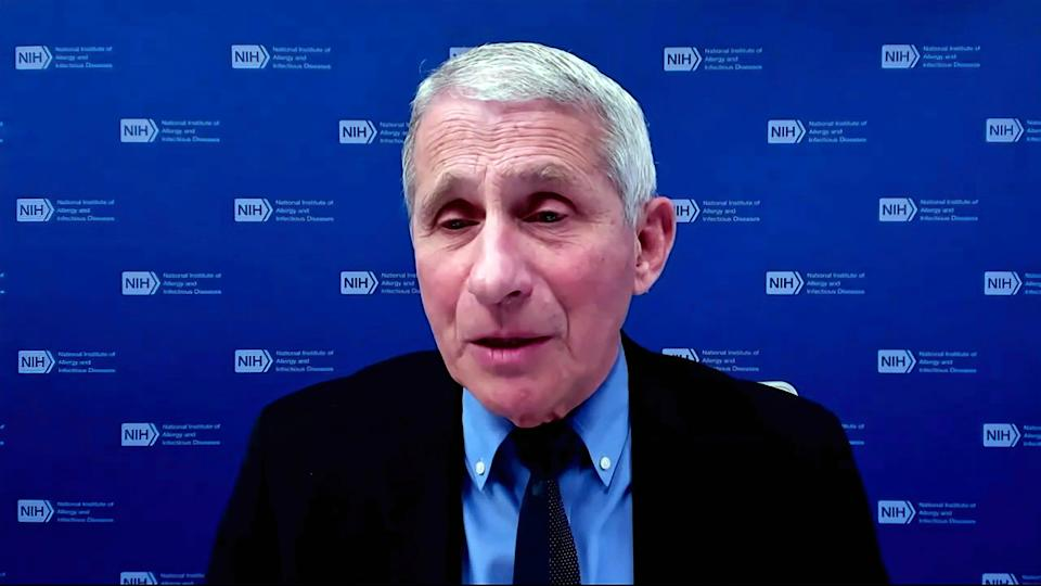Dr. Anthony Fauci, director of the National Institute of Allergy and Infectious Diseases and chief medical adviser to the president, speaks via video conference during a White House briefing on the Biden administration's response to the COVID-19 pandemic, Jan. 27, 2021.