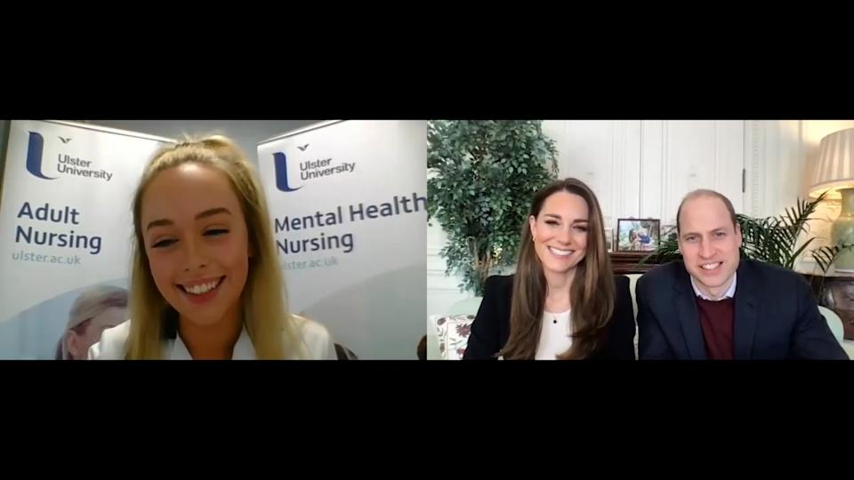 <p>The Duke and Duchess of Cambridge have shared a video diary created by a student nurse to show what a day in her life is like as she trains during the pandemic. Abigail McGarvey is a first-year Adult Nursing student at Ulster University and has been on night shifts during her placement. The diary shows how she gets up at 5.30pm, gets ready to go to work for 8pm, sorts out forms at midnight and eventually goes home at 8am. The royal couple chatted to McGarvey via a video call. </p>