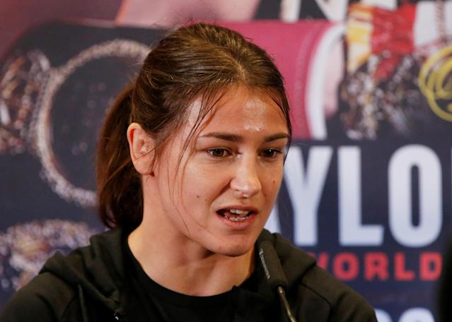 Boxing - Katie Taylor & Christina Linardatou Press Conference - Carole Nash Hall, Manchester, Britain - October 31, 2019 Katie Taylor during the press conference Action Images via Reuters/Ed Sykes