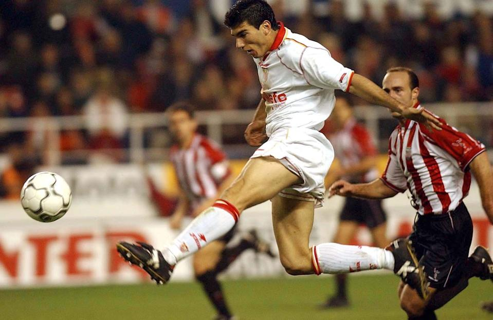 Reyes burst onto the scene for Sevilla in 2001. Here, he is pictured during the Spanish Primera Liga match played between Sevilla and Athletic Bilbao at the Ramon Sanchez Pizjuan Stadium (Firo Photo/ALLSPORT)