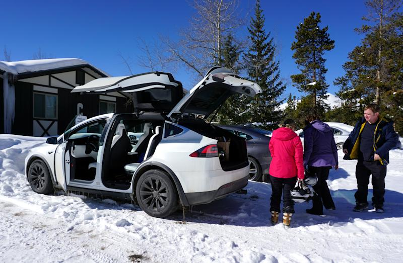 Model X has plenty of room for ski gear and luggage