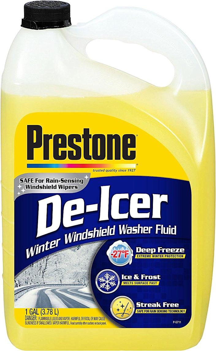 """<p><a rel=""""nofollow noopener"""" href=""""https://www.amazon.com/Prestone-AS250-Icer-Windshield-Washer/dp/B001E1RVKQ/?tag=syndication-20"""" target=""""_blank"""" data-ylk=""""slk:BUY NOW"""" class=""""link rapid-noclick-resp"""">BUY NOW</a><br></p><p>Running out of washer fluid during an icy drive is a real pain that can turn dangerous fast. It's always good to have some extra in the trunk in case you need it. </p>"""