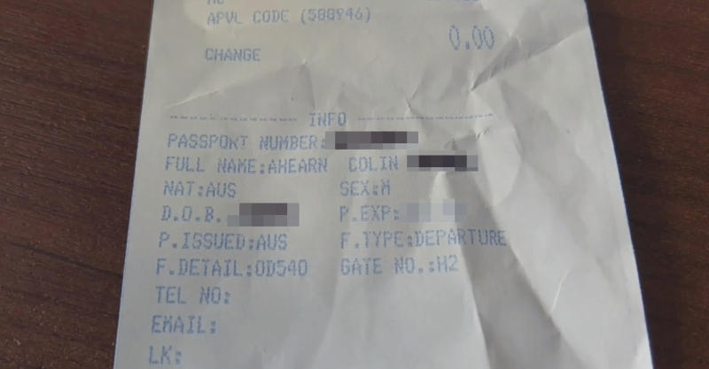 A photo of a Perth man's duty-free receipt from Kuala Lumpur International Airport, which sparked a warning about identity theft.