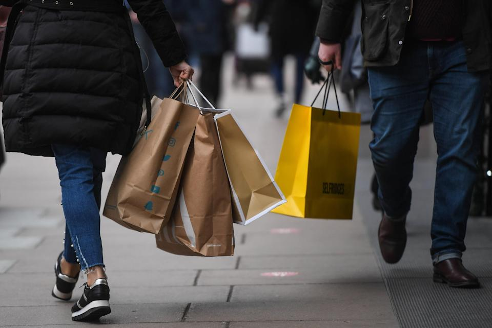<p>Shoppers on Oxford Street</p> (Getty Images)