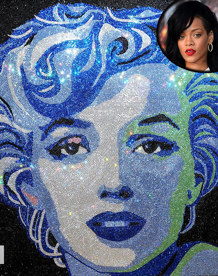 """Most Monroe fans remember the actress by popping """"Some Like it Hot"""" in the DVD player or reading a Monroe biography. However, most of us have a lot less cash than Rihanna. So when RiRi wanted to honor Monroe, she went all out. The Barbadian singer reportedly dropped $160,000 to commission a Monroe portrait made entirely of Swarovski crystals! The work of art is 5'5"""" tall and weighs 182 lbs., <a target=""""_blank"""" href=""""http://style.mtv.com/2012/01/31/rihanna-buys-160000-marilyn-monroe-artwork/"""">according to MTV</a>. It features Monroe's expressionless face made of 65,000 little sparklers, and reportedly hangs in her L.A. home."""