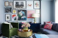 """<p>""""I intentionally chose a cooler gray because I knew I'd be mixing in blue and green pieces,"""" says <a href=""""https://www.apartment48.com/"""" rel=""""nofollow noopener"""" target=""""_blank"""" data-ylk=""""slk:Rayman Boozer"""" class=""""link rapid-noclick-resp"""">Rayman Boozer</a>, the designer behind this bold room. It just goes to show that color can change so much depending on the pieces you pair it with. </p>"""