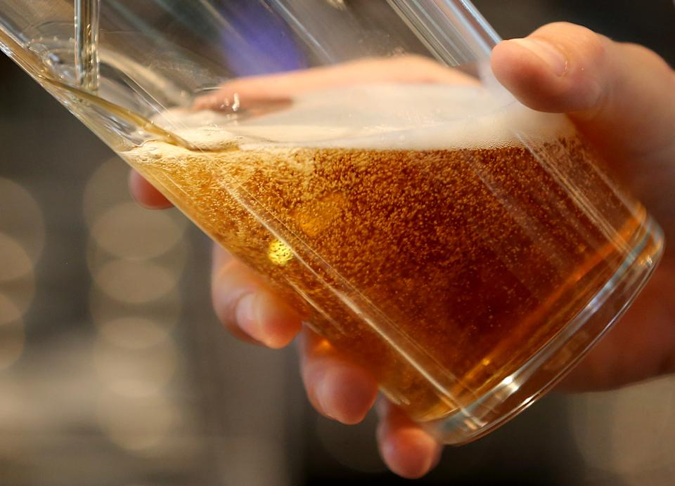 A pint is poured at JD Wetherspoon's Royal Victoria Pavillion in Ramsgate, Kent, which has opened today and thought to be the largest pub in the UK.