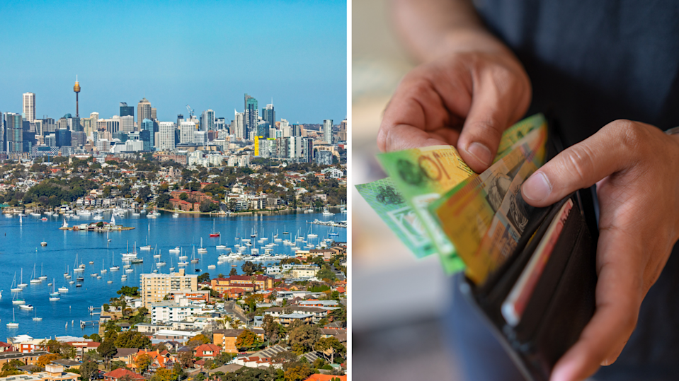 Aerial view of Sydney harbour, houses and apartments, hands holding wallet full of Australian cash.