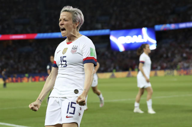 Megan Rapinoe celebrates after scoring the U.S. team's second goal against France during their World Cup quarterfinal on Friday. (AP)