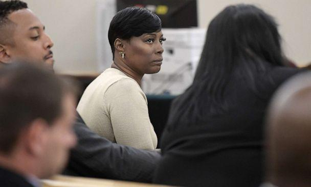 PHOTO: Crystal Mason, middle, convicted for illegal voting and sentenced to five years in prison, sits at the defense table in court in Fort Worth, Texas, on May 25, 2018 (Fort Worth Star-telegram via Getty Images, FILE)