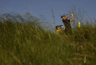 England's Danny Willett play his shot from the 3rd tee during the first round British Open Golf Championship at Royal St George's golf course Sandwich, England, Thursday, July 15, 2021. (AP Photo/Alastair Grant)