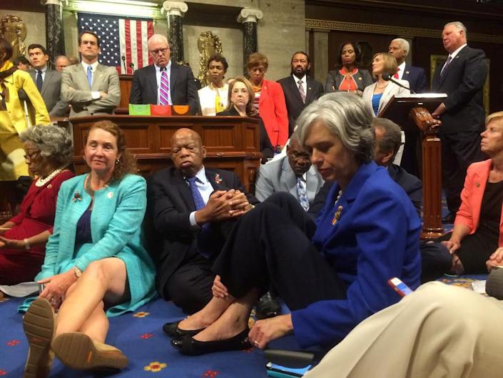 """A photo shot and tweeted from the floor of the U.S. House of Representatives by U.S. House Rep. Katherine Clark shows Democratic members of the House staging a sit-in on the House floor """"to demand action on common sense gun legislation"""" on Capitol Hill in WashingtononJune 22, 2016."""