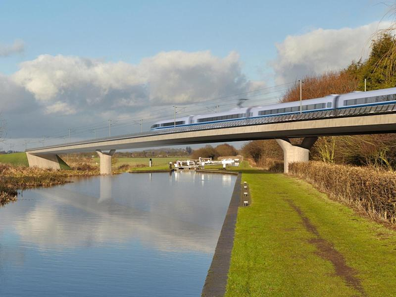 An artist's impression of an HS2 train on the Birmingham and Fazeley viaduct, part of the proposed route for the rail scheme: HS2/PA