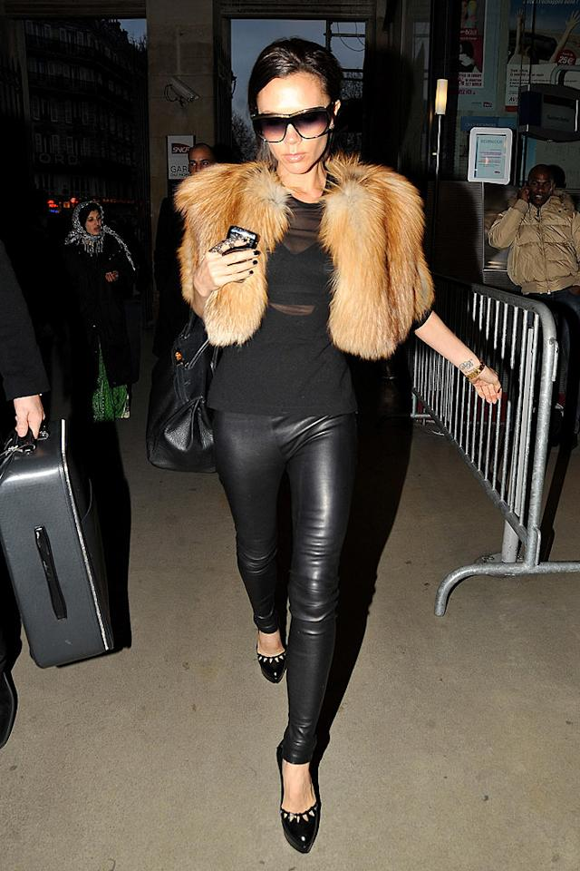 "Victoria Beckham stepped out in a faux-fur Antonio Berardi jacket and skin-tight leather pants during a quick trip to Paris. Posh, who has been a long-time supporter of PETA, has pledged in the past 'never to work with fur' in any of her own fashion collections. INFphoto.com/<a href=""http://www.infdaily.com"" target=""new"">INFDaily.com</a> - December 12, 2009"