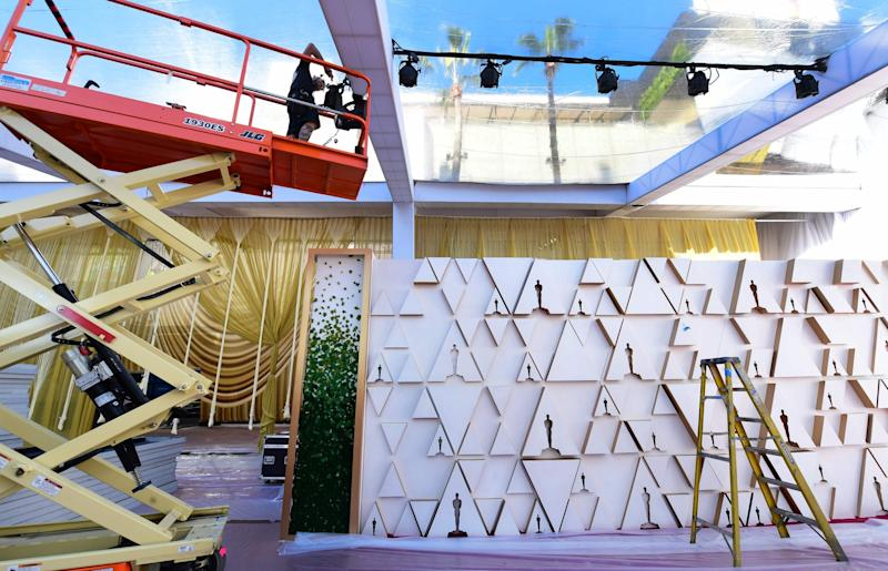 The Oscars' trademark backdrop is also being put together (AFP via Getty Images)