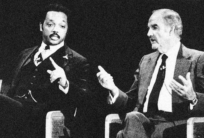 FILE - In this Feb. 23, 1984 file photo, Rev. Jesse Jackson, left, and former Sen. George McGovern both gesture during the Democratic presidential debate in Manchester, N.H. A family spokesman says, McGovern, the Democrat who lost to President Richard Nixon in 1972 in a historic landslide, has died at the age of 90. According to the spokesman, McGovern died Sunday, Oct. 21, 2012 at a hospice in Sioux Falls, surrounded by family and friends.(AP Photo, File)
