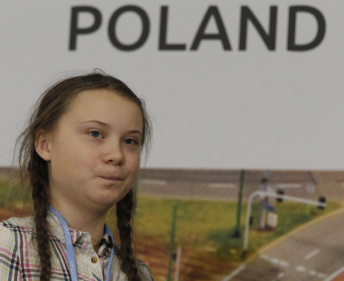 Swedish young activist, 15-year-old Greta Thunberg, who has inspired students around the world to campaign against global warming attends a U.N. climate conference in Katowice , Poland, Tuesday, Dec. 4, 2018. (AP Photo/Czarek Sokolowski)