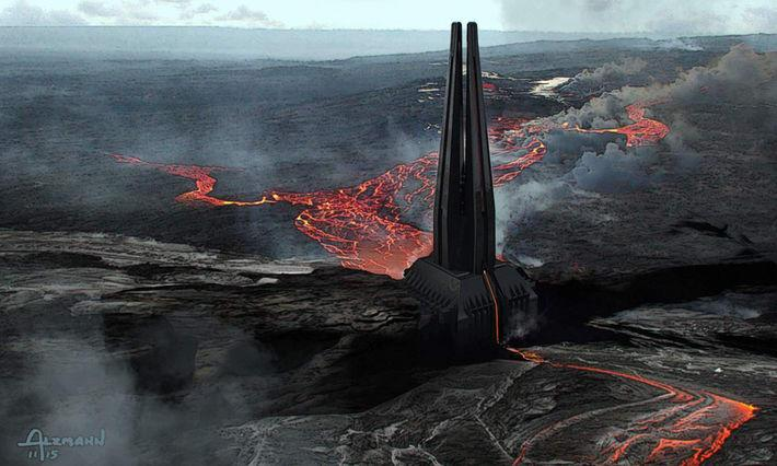 Concept art of Vader's castle on Mustafar (Lucasfilm/from the book 'Art of Rogue One')