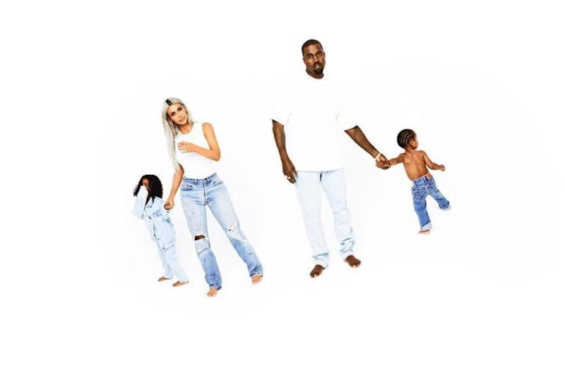 Kim Kardashian and Kanye West with their kids North and Saint