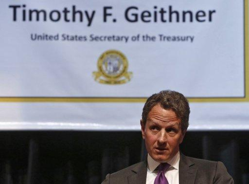 Timothy Geithner highlighted action by the European Central Bank to reassure markets and also reforms in Spain and Italy