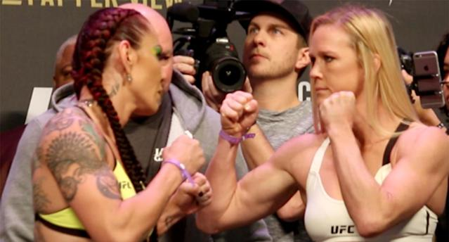 "Cris ""Cyborg"" Justino (L) will defend her featherweight title against Holly Holm at UFC 219. (Getty)"