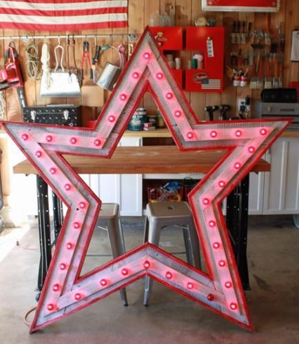 """<div class=""""caption-credit""""> Photo by: The Cavender Diary</div><b>Wood star light</b> <br> Could. not. love. this. star. light. fixture. more. Doesn't this great big barn wood star remind you of a vintage carnival? Big bold nostalgic flair makes this light fixture a true work of art. <br> <i>Get the full two-part tutorial at <a href=""""http://thecavenderdiary.com/"""" rel=""""nofollow noopener"""" target=""""_blank"""" data-ylk=""""slk:The Cavender Diary"""" class=""""link rapid-noclick-resp"""">The Cavender Diary</a></i>"""