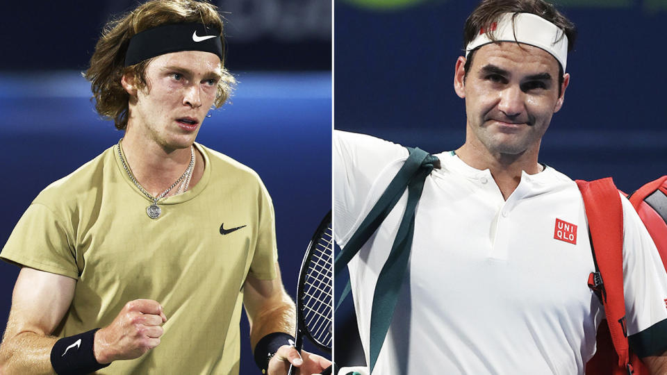 Andrey Rublev and Roger Federer, pictured here in action on the ATP Tour.