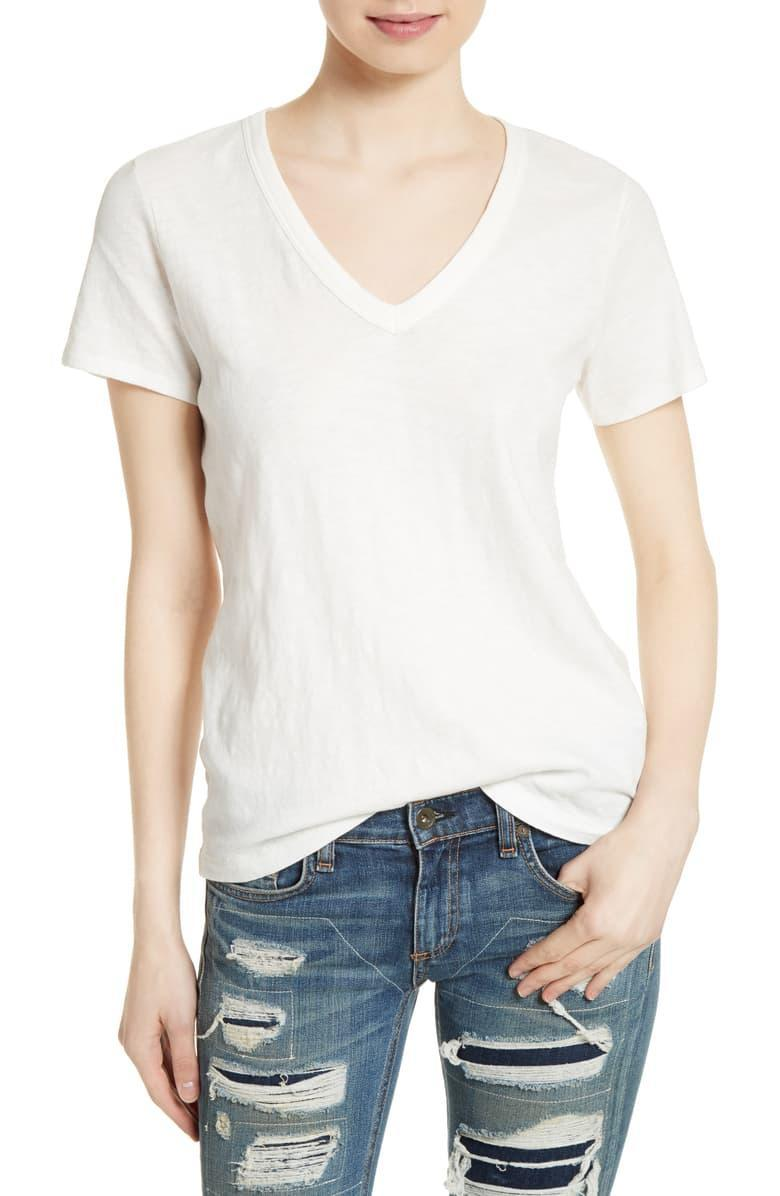 """Basic V-necks rarely warrant a designer price tag, unless they're on sale. These Rag & Bone tees are so popular you might as well get yourself one while it's 30% off. (Pinkie-swear it'll last you more than three laundry cycles.) $90, Nordstrom. <a href=""""https://shop.nordstrom.com/s/rag-bone-the-vee-tee/4571296/lite"""" rel=""""nofollow noopener"""" target=""""_blank"""" data-ylk=""""slk:Get it now!"""" class=""""link rapid-noclick-resp"""">Get it now!</a>"""