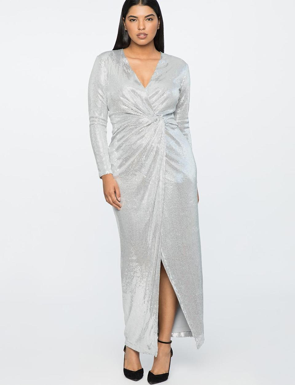 """<p>Walk into any room on NYE wearing this dress and all eyes will be on you. <br>Jason Wu x Eloquii sequined wrap gown, $180, <a rel=""""nofollow noopener"""" href=""""https://fave.co/2OiEHGU"""" target=""""_blank"""" data-ylk=""""slk:eloquii.com"""" class=""""link rapid-noclick-resp"""">eloquii.com</a> </p>"""