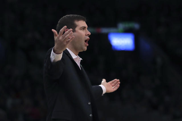 Boston Celtics head coach Brad Stevens argues a call during the first half of an NBA basketball game against the Memphis Grizzlies in Boston, Wednesday, Jan. 22, 2020. (AP Photo/Charles Krupa)