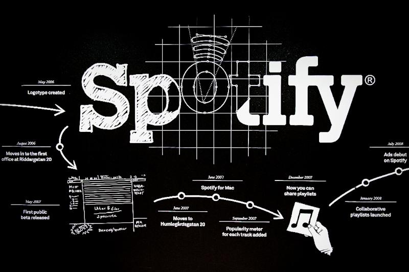 A timeline of Spotify accomplishments is pictured on a wall at the entrance to the company headquarters in Stockholm on February 16, 2015 (AFP Photo/Jonathan Nackstrand)