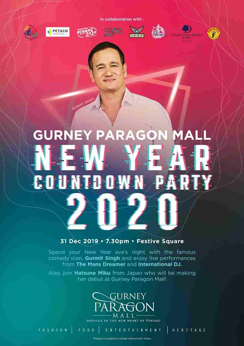 Join Gurmit Singh at Gurney Paragon Mall in Penang for an exciting New Year's Eve. ― Picture courtesy of Gurney Paragon Mall