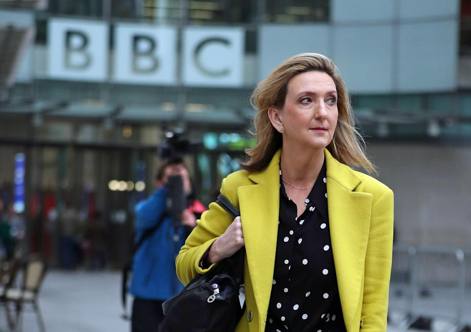 Presenter Victoria Derbyshire leaves BBC Broadcasting House in London, after it was announced that her TV programme is being taken off air. (Photo by Yui Mok/PA Images via Getty Images)