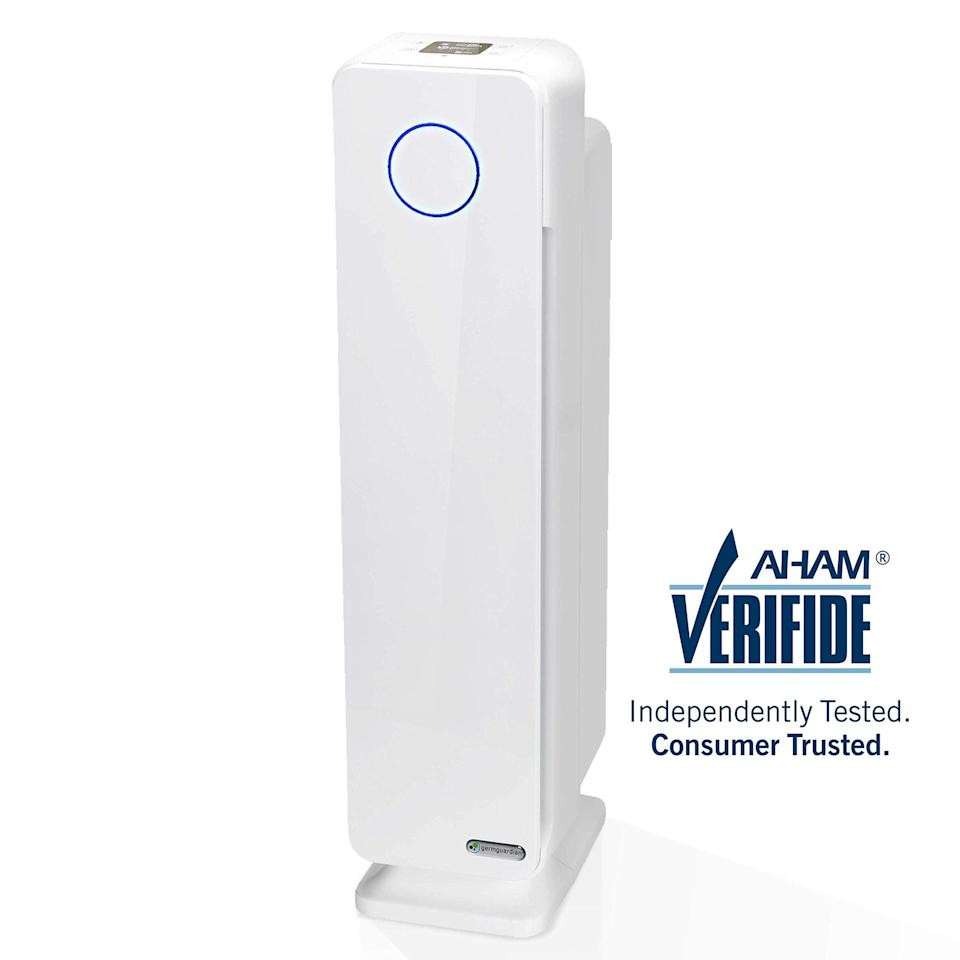 "<h3><a href=""https://amzn.to/3aUSijw"" rel=""nofollow noopener"" target=""_blank"" data-ylk=""slk:Guardian Technologies HEPA Filter Air Purifier"" class=""link rapid-noclick-resp"">Guardian Technologies HEPA Filter Air Purifier</a></h3> <br>Streamlined for tighter living spaces with an incognito all-white design, this HEPA-filter device is engineered to reduce up to 99.97% of harmful toxins in the air while also neutralizing odor.<br><br><strong>GermGuardian</strong> HEPA Filter Air Purifier, $, available at <a href=""https://amzn.to/3aUSijw"" rel=""nofollow noopener"" target=""_blank"" data-ylk=""slk:Amazon"" class=""link rapid-noclick-resp"">Amazon</a><br>"