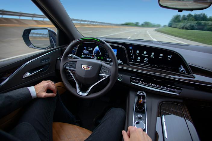 "Super Cruise enables hands-free driving on more than 200,000 miles of compatible highways in the United States and Canada.<p class=""copyright"">General Motors</p>"