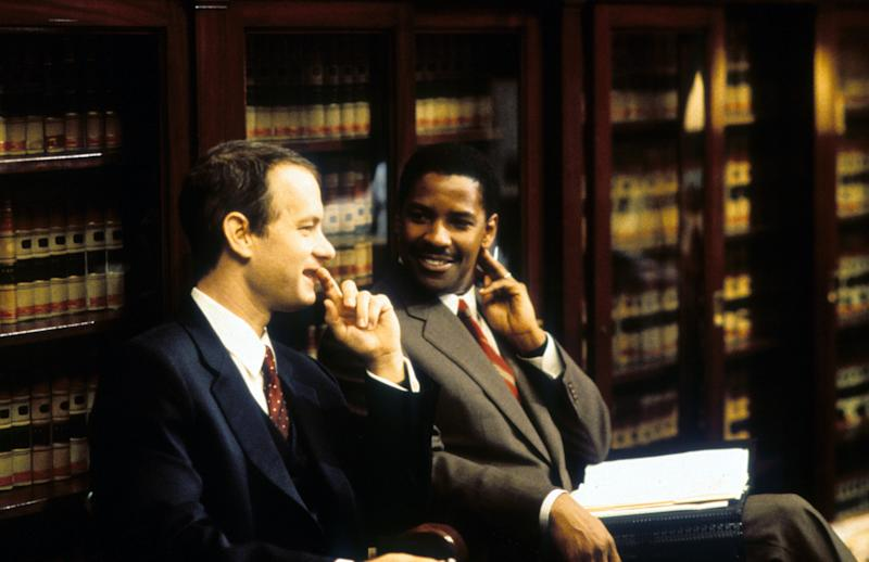 "Tom Hanks (left) and Denzel Washington in ""Philadelphia."" (Photo: Columbia TriStar via Getty Images)"
